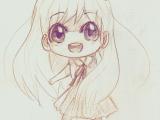 Drawings Of Anime Girl Eyes A Anime Art A Chibi Big Eyes Smile Drawing Pencil
