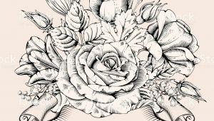 Drawings Of Blooming Flowers Vintage Luxury Card with Detailed Hand Drawn Flowers Blooming Rose