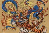 Drawings Of Dragons Fighting Dragon and Tiger Yin and Yang Tattoo Dragon Chinese Tiger