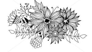 Drawings Of Flower Leaves Doodle Bouquet Od Flowers and Leaves On White Background Template