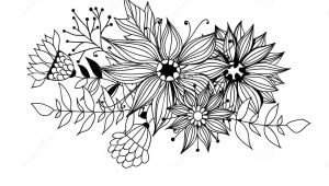 Drawings Of Flowers and Leaves Doodle Bouquet Od Flowers and Leaves Stock Illustration