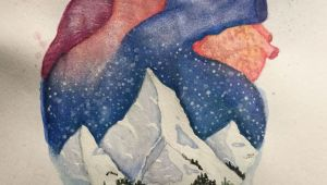 Drawings Of Hands Holding A Heart Anatomical Heart and Winter Mountain Landscape Watercolor Painting