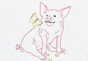 Drawings Of Hands Sewing Pig Tea towel Embroidery Kit Pink Pig Pig Sewing Kit Beginner