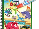 Dry Erase Draw Figures that Become Animated Fairydreamy Waterpainting Coloring Book Unisex Kids Magic Reusable Water Drawing Book with Water Pen Graffiti Painting for toddlers Dinosaur World