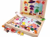 Dry Erase Draw Figures that Become Animated Girl Dressup Multifunctional Wooden Drawing Easel Double