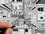 Easy 1 Point Perspective Drawings How to Draw 1 Point Perspective Draw 3d Buildings Youtube