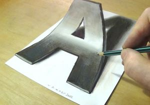 Easy 3d Drawings On Paper Step by Step How to Draw 3d Letter A Drawing Letter A with Pencil