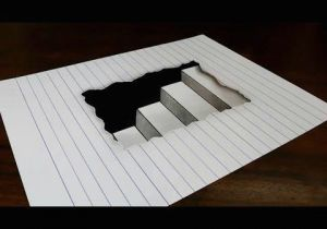 Easy 3d Drawings On Paper Step by Step How to Draw 3d Steps In Line Paper Easy Trick Art for Kids