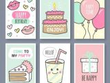 Easy Birthday Card Drawings Set Of Hand Drawn Birthday Cards Free Vector Birthday Card