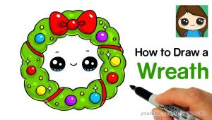 Easy Christmas Drawing Ideas How to Draw A Christmas Holiday Wreath Easy Youtube
