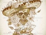 Easy Day Of the Dead Skull Drawings Skull In sombrero with Flowers Day Of the Dead Graphicriver