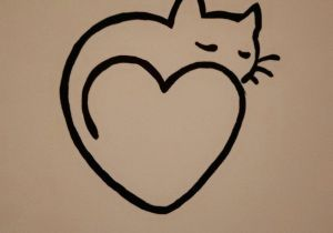 Easy Drawing Love Hearts On the Wall Simple Heart Cat Painting Aarons Bedroom Painting