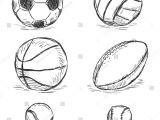 Easy Drawing Volleyball Vector Sketch Illustration Sport Balls Football Volleyball