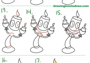 Easy Drawings for Kid Beginners How to Draw Lumiere Cute Kawaii Chibi From Beauty and the Beast