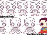 Easy Drawings In Steps How to Draw Cute Chibi Superman From Dc Comics In Easy Step by Step