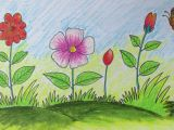 Easy Drawings Of Flowers In Pencil Step by Step How to Draw A Scenery with Flowers for Kids Long Version Youtube