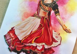 Easy Drawings Of Navratri Deepika Padukone Ram Leela Drawing Prismacolors Colouring Pencils
