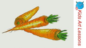 Easy Drawings Of Vegetables How to Draw Carrots Easy Step by Step Vegetables Drawing In Pastel
