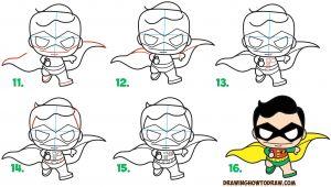 Easy Drawings Robin How to Draw Cute Kawaii Chibi Robin From Dc Comics Batman