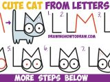 Easy Drawings with Alphabets How to Draw A Cute Cartoon Kitten From Letters L M Easy Step by
