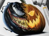 Easy Drawings with Copic Markers Venom Pumpkin Drawing Done with Copic Markers Pumpkin