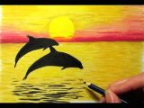 Easy How to Draw A Dolphin Landscape In Colored Pencil Sunset and 2 Dolphins Drawing