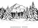 Easy January Drawings Winter forest Sketch Black and White Vector Illustration Of Snowy