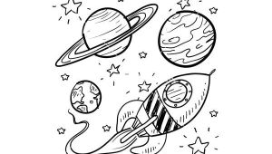 Easy to Draw Planets Doodle Space Planets Rocket Ship Stars Explore Vector