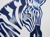 Easy Zebra Drawings Blue Zebra Safari Nursery Art Zoo Animal Jungle theme Kids Baby