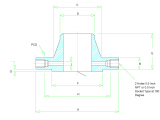 F Drawing Size orifice Flange Dimensions Class 300 to Class 2500