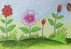 Flowers Garden Drawing Easy How to Draw A Scenery with Flowers for Kids Long Version Youtube