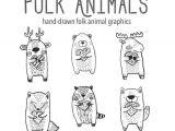 Forest Animals Drawing Folk Clipart Animals Heart Clipart Vector Graphics Deer