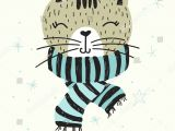Funny Drawing Of A Cat Vector Poster with Hand Drawn Funny Cat Vector Illustration for