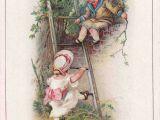 Girl Climbing Tree Drawing Chromo Compagnie Anglaise Laubadere Nantes Boy Sitting On