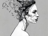 Girl Drawing Black and White Overthinking