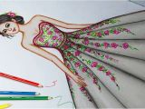Girl Drawing Color Drawing Dress Using Color Pencil Fashion Illustration Art