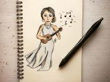 Girl Drawing Color Girl with Ukulele Drawing Drawing In 2019 Pencil