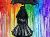 Girl In Rain Drawing Rainbow Rain Umbrella Art Rainbow Art Art Projects