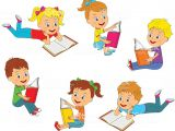 Girl Reading A Book Drawing Boys and Girls Reading A Book Collection Stock Illustration