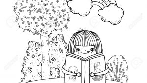 Girl Reading A Book Drawing Happy Little Girl Reading Book with Rainbow Vector Illustration