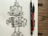 Graphite Pencil Drawing Ideas Cute Robot Graphite Pencil Drawing Robots Drawing Robot