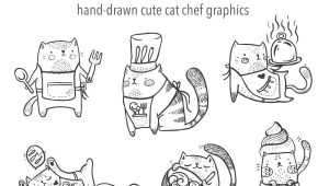Hand Drawing Of A Cat Hand Drawn Cute Cats Cooking Baking Adorable Kitten Clip Art Baking