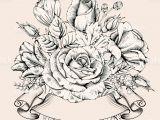 Hand Drawing Rose Flowers Vintage Luxury Card with Detailed Hand Drawn Flowers Blooming Rose