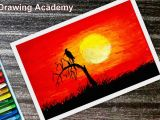 How to Draw A Full Moon Step by Step Easy How to Draw Bird In A Sunset by Oil Pastel Step by Step