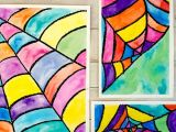 How to Draw A Spider Web Easy Make Colorful Watercolor Spider Web Art with Kids
