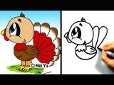 How to Draw Turkey Easy Great for Thanksgiving Cute Lil Turkey Mei Yu Fun 2 Draw