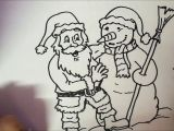 How to Make Easy Santa Claus Drawing How to Draw Santa Claus and Snowman In A Hug Cute and Easy Step by Step
