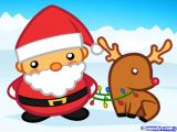 How to Make Easy Santa Claus Drawing Santa and Reindeer Chibi 3 How to Draw Santa Christmas