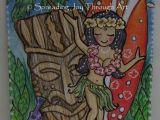 Hula Girl Drawing Aceo original Joy Hula Tiki Turtle Coconut Palm Hawaii
