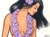 Hula Girl Drawing Hawaiian Girls Art Details About Painting Scott Pike